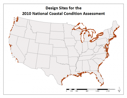 Map of the design sites for the coastal survey