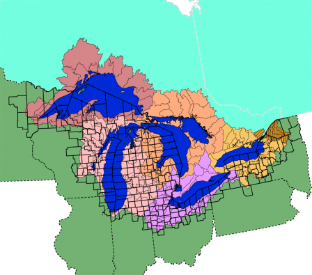 Map of the Great Lakes basin showing US counties