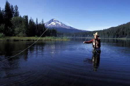 Image of a man fly fishing.