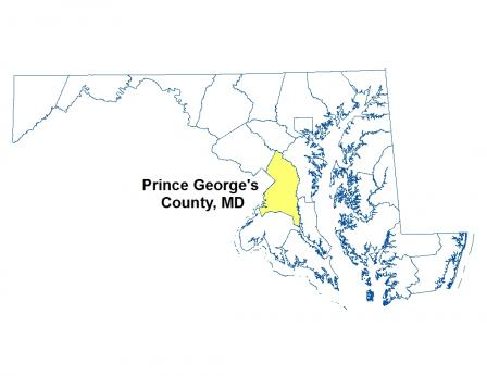 A map of Maryland highlighting the location of Price George's County