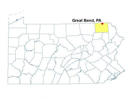 A map of Pennsylvania featuring Great Bend