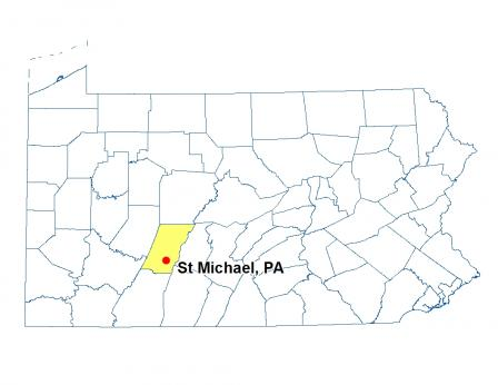 A map of Pennsylvania highlighting the location of St Michael