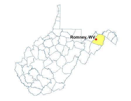 A map of West Virginia highlighting the location of Romney