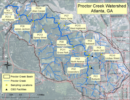 This map outlines the watershed and identifies the sampling locations, CSO facilities and the proctor creek basin