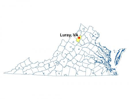 A map of Virginia highlighting the location of Luray