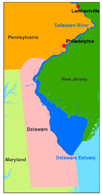 Map highlighting the location of the Delaware Estuary and Philadelphia, PA and Lambertville, NJ.