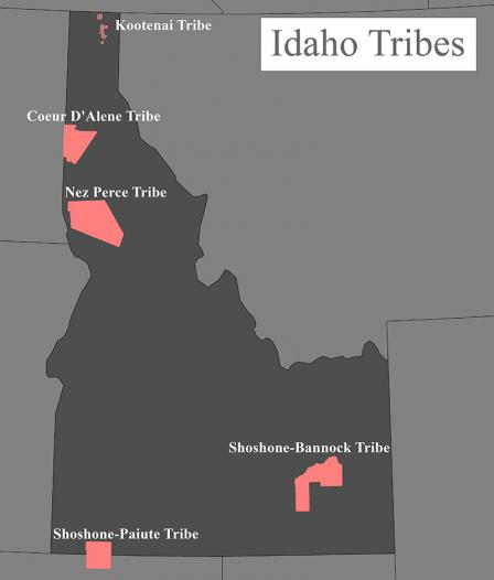 Map of tribal reservations in Idaho.