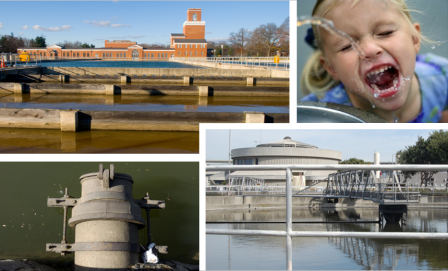 Top right image of a drinking water treatment plant, bottom right image of a wastewater outflow, top left image of a child drinking from a water fountain, bottom right image of a wastewater treatment plant.