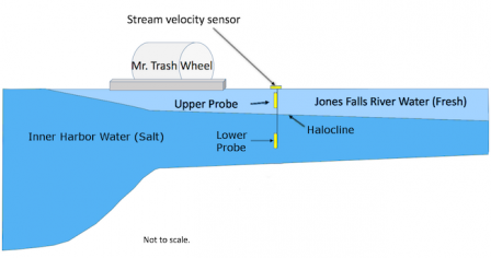 Jones Falls sensor placement in relation to the halocline.