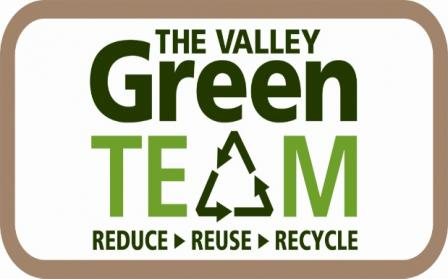 The is a logo that reads, in two shades of green: The Valley Green Team, Reduce Reuse Recycle. The letter a in the word team is a recycling symbol, and the words The Valley Green Team are more prominent than the words reduce reuse recycle.