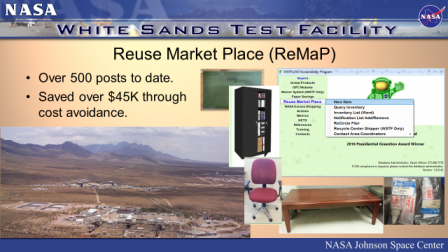 Powerpoint slide on Reuse Market Place NASA