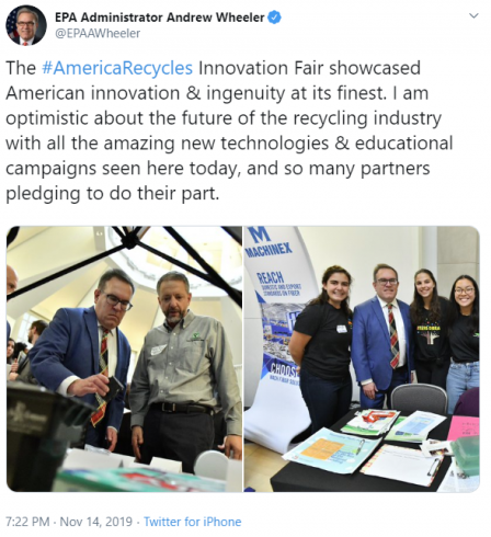 The #AmericaRecycles Innovation Fair showcased American innovation & ingenuity at its finest. I am optimistic about the future of the recycling industry with all the amazing new technologies & educational campaigns seen here today, and so many partners pl