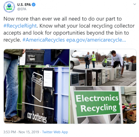 Now more than ever we all need to do our part to #RecycleRight. Know what your local recycling collector accepts and look for opportunities beyond the bin to recycle.