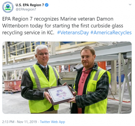 EPA Region 7 recognizes Marine veteran Damon Wittenborn today for starting the first curbside glass recycling service in KC.