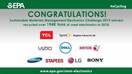 Graphic announcing that SMM Electronics Challenge 2019 winners recycled over 194,000 tons of used electronics in 2018.