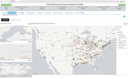 A map of facilities in the chemical manufacturing industry sector