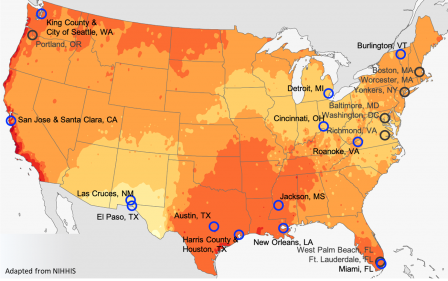 Map of Cities that conducted National Oceanic and Atmospheric Administration's (NOAA's) National Integrated Heat Health Information System (NIHHIS) and Climate Adaptation Planning and Analytics (CAPA) Strategies campaigns during the summer of 2020.