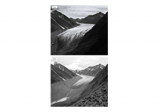 Two photographs that show McCall Glacier in Alaska from the same viewpoint in 1958 and 2003.