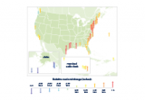 Color-coded map showing changes in relative sea level at points along the U.S. coastline from 1960 to 2015.