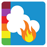 Smoke Sense graphic identifier, with AQI colors.