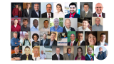 This is a thumbnail image linking to a full size collage of various representatives of companies that received the 2020 SmartWay Excellence Award.  This is one of two images.